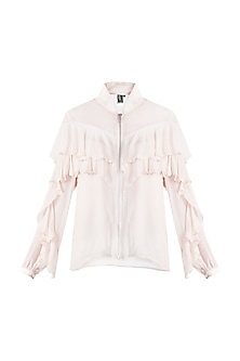 Nude Frill Bomber Jacket by RS by Rippii Sethi