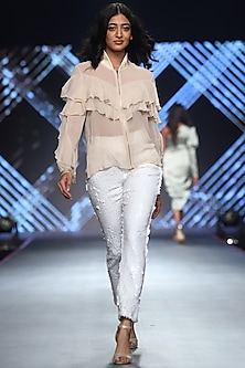 White Sequins Pants by RS by Rippii Sethi