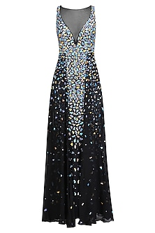 Black Applique Work Sleeveless Flared Gown