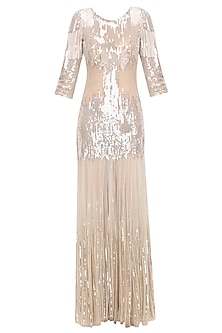 Nude Sequins Embellished Flared Gown
