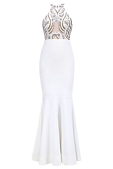 White, Gold and Silver Applique Work Fish Cut Gown