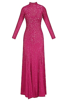 Red Sequins Embellished High Neck Tail Gown