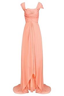 Peach Pleated Long Tail Floor Length Gown