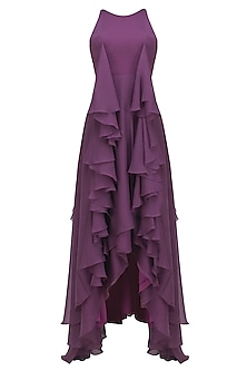 Purple Ruffled High Low Sleeveless Gown
