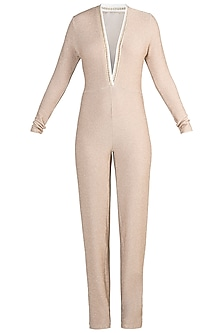 Nude Deep Neck Jumpsuit
