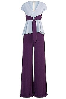 Grey And Purple Peplum Top With Palazzo Pants