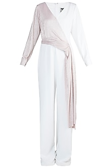 White And Light Pink Metallic Jumpsuit