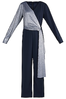 Navy Blue And Silver Metallic Jumpsuit