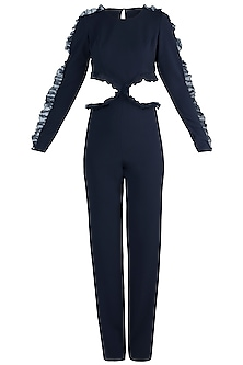 Navy Blue Frills Cutout Jumpsuit