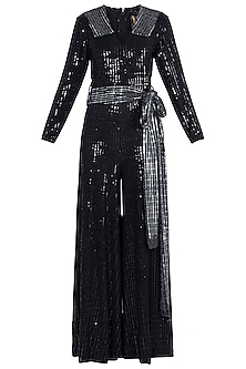 Black and Silver Polyester Metallic Jumpsuit