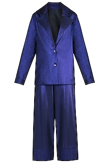 Purple Metallic Coat Suit