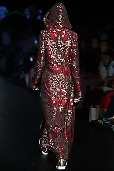 Red Hoodie Jacket Dress by Rajesh Pratap Singh