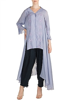 Lilac Embroidered High-Low Tunic With Blue Pants by Rriso