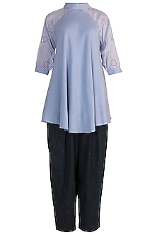 Lilac Embroidered Tunic With Blue Pants by Rriso