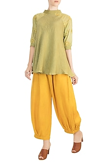Sea Green Embroidered Tunic With Mustard Pants by Rriso