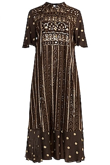 Brown Embroidered Lucknowi Dress by Rriso