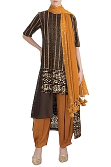 Brown & Rust Embroidered Tunic Set by Rriso