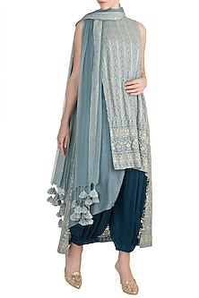 Blue Embroidered Tunic Set by Rriso