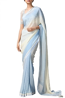 Powder Blue & Off White Ombre Printed Saree Set by Ri Ritu Kumar