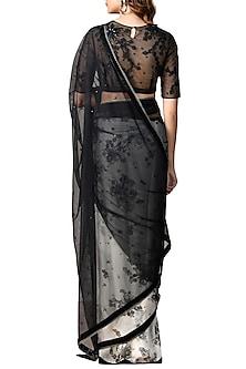 Ivory & Black Sheer Floral Saree Set by Ri Ritu Kumar