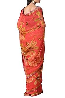 Coral Printed Saree Set by Ri Ritu Kumar