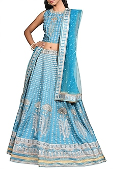 Light Blue Embroidered Lehenga Set by Ri Ritu Kumar