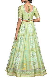 Mint Green & Pink Printed Embroidered Lehenga Set by Ri Ritu Kumar