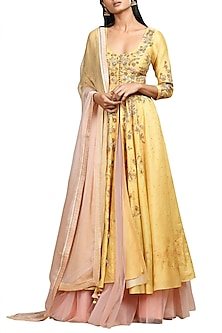 Ochre Yellow & Pink Embroidered Kurta Set by Ri Ritu Kumar