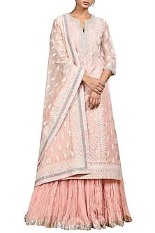 Pastel Pink Embroidered Kurta Set by Ri Ritu Kumar