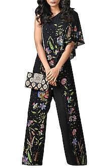 Black Embroidered One Shoulder Jumpsuit by Ri Ritu Kumar
