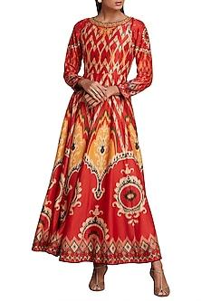 Red & Mustard Printed Ikat Anarkali Kurta by Ri Ritu Kumar