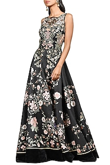 Black Floral Printed Gown by Ri Ritu Kumar