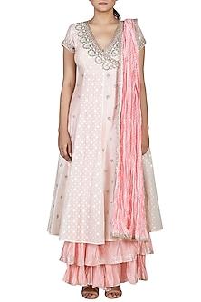 Ivory & Pink Angrakha Kurta Set by Ri Ritu Kumar