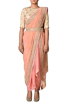 Peach & Gold Embroidered Saree Set by Ri Ritu Kumar