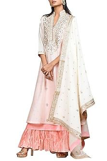 Ivory & Pink Embroidered Kurta Set by Ri Ritu Kumar-EDITOR'S PICK