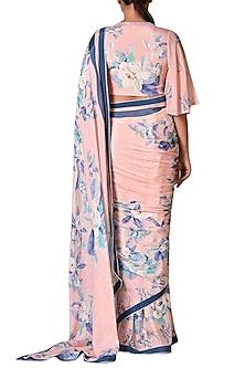 Baby Pink & Blue Floral Saree Set by Ri Ritu Kumar