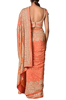 Coral Printed & Embroidered Saree Set by Ri Ritu Kumar