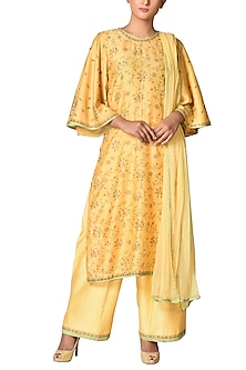 Yellow & Gold Embroidered Kurta Set by Ri Ritu Kumar