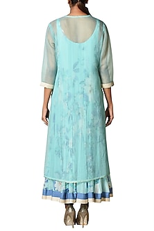 Aqua Blue Layered Kurta With Inner & Dupatta by Ri Ritu Kumar