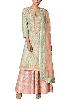 Mint Green & Peach Hand Embroidered Kurta Set by Ri Ritu Kumar