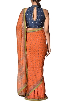 Rust & Indigo Printed Saree Set by Ri Ritu Kumar