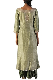 Pista Green Embroidered Kurta Set by Ri Ritu Kumar