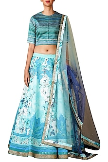 Aqua Blue Embroidered Lehenga Set by Ri Ritu Kumar