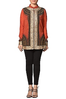 Red & Black Embroidered Top by Ri Ritu Kumar