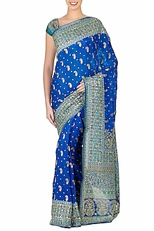 Royal Blue & Turquoise Embroidered Saree Set by Ri Ritu Kumar