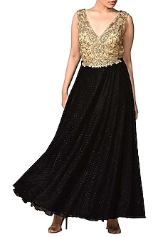 Black & Gold Embroidered Gown by Ri Ritu Kumar