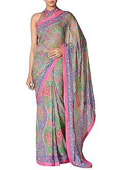 Emerald & Purple Hand Embroidered Saree Set by Ri Ritu Kumar