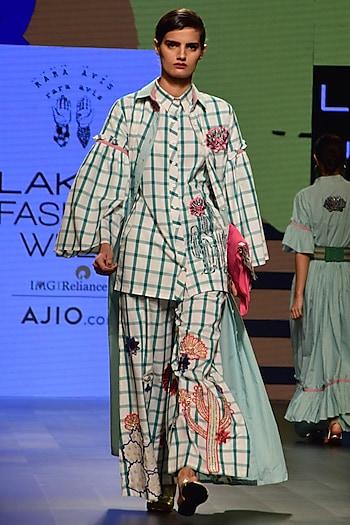 Green Checkered Flared Pants by RARA AVIS