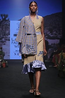 Cornflower Blue and Yellow Checks Embroidered Kimono Wrap Jacket by Rara Avis