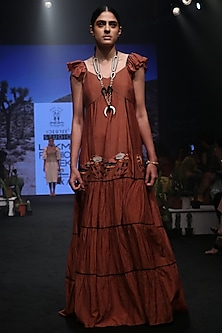 Rust Embroidered Ruffled Maxi Dress